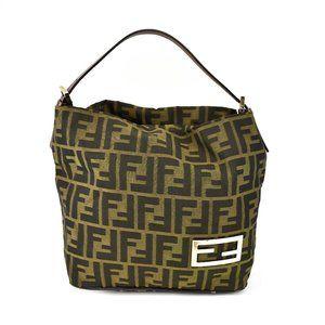 "FENDI: Brown, ""FF"" Logo & Leather, Tote Bag (vn)"